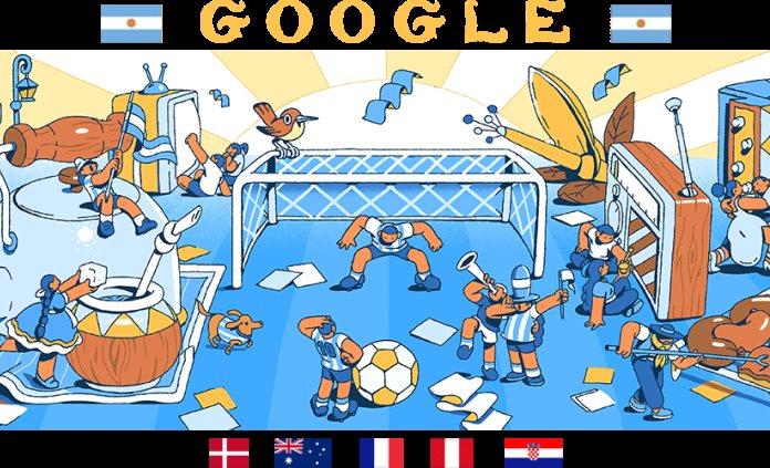"""Google se pone """"la albiceleste"""" en día 8 del Mundial Rusia 2018"""
