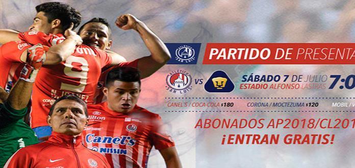Anuncia fecha del partido entre el Atlético de San Luis y Pumas en el Lastras