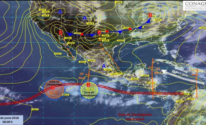 Cuatro fenómenos naturales generarán lluvias en la mayor parte del país