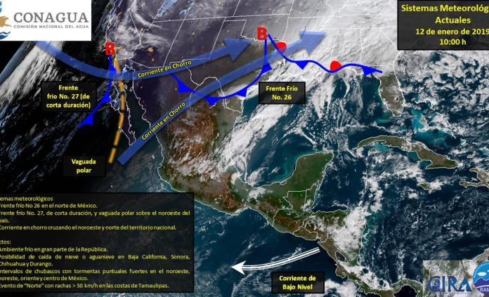 Frente 26 generará frío y lluvias en gran parte de la República Mexicana