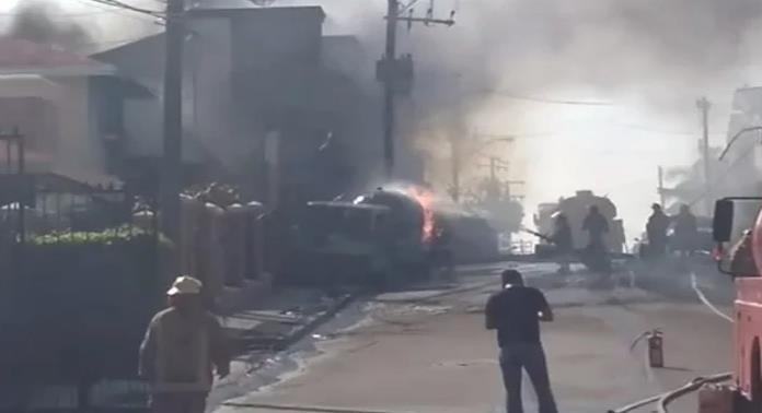 Explosión de pipa de gas deja 3 lesionados en Tampico