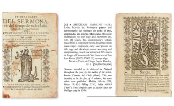 Subastan en NY libro antiguo de convento de SL