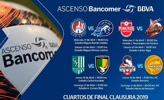 Quedan definidos los cuartos de final del Clausura 2019 del Ascenso MX