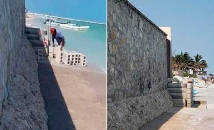 Levantan muro a orilla de la playa en Yucatán