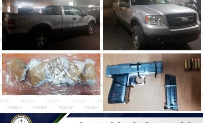 Capturan a tres sujetos con arma de fuego y droga