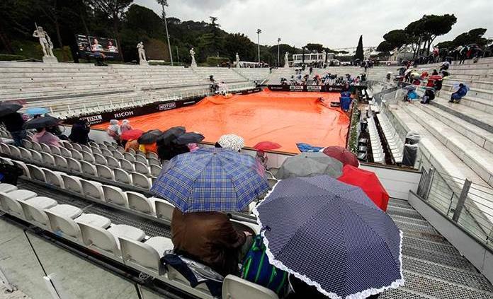 Intensa lluvia impide debut de Federer, Nadal y Djokovic en el torneo de Roma