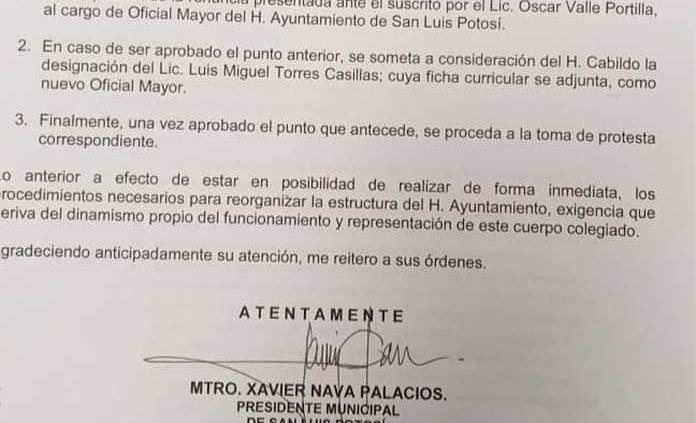 Renuncia Óscar Valle a la Oficialía Mayor del Ayuntamiento capitalino