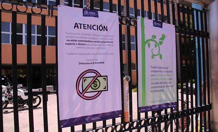 Hacen campaña antipropinas en Contaduría-UASLP