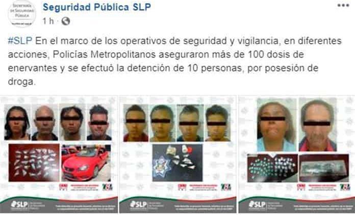 Asegura SSPE más de 100 dosis de enervantes; hay 10 detenidos