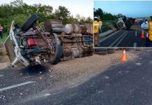 Se accidentan tres tráilers en una autopista de cuota