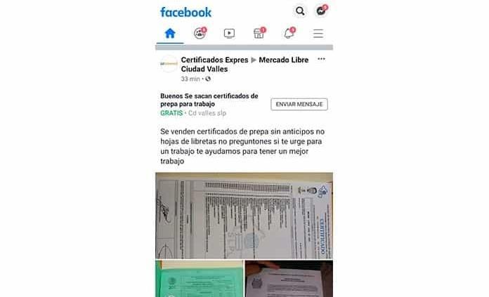 Venden certificados exprés en redes sociales