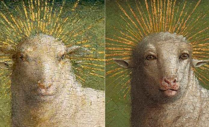 La restauración de El Cordero Místico de Van Eyck causa furor en internet