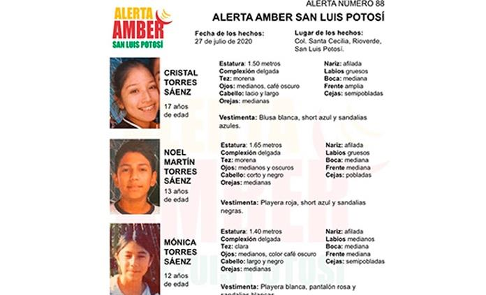 Fiscalía activa Alerta Amber para localizar a tres hermanos menores de Rioverde