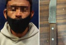 Detenido con cuchillo en la Col. Tercera Chica