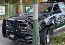 Patrulla de la Fuerza Metropolitana se accidenta a un costado de Morales
