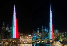 Rascacielos más alto del mundo ubicado en Dubái se ilumina con la Bandera de México