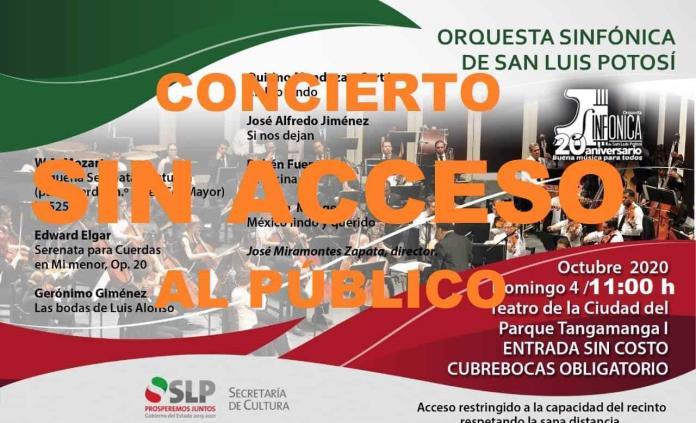 A puerta cerrada, concierto de la Orquesta Sinfónica de SLP en el Teatro de la Ciudad