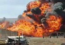 Incendio en negocio de venta de alcohol provoca gran movilización en Rocha Cordero (FOTOGALERÍA)