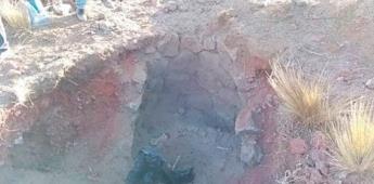 Localizan entierro prehispánico con forma de botella en Puebla