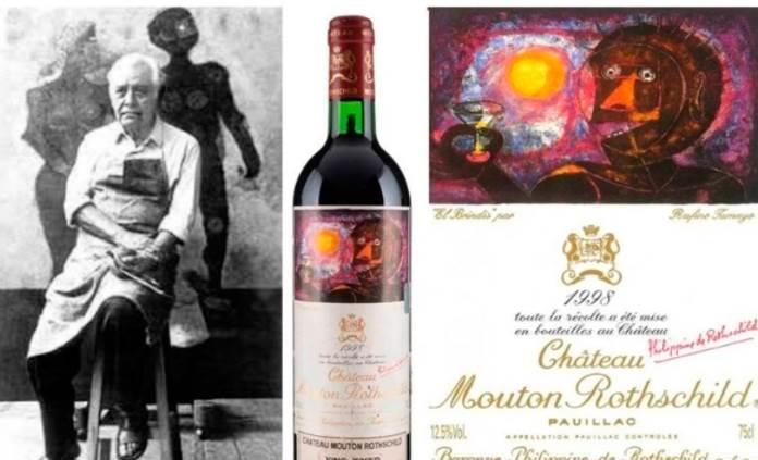 Subastan obra gráfica de Tamayo plasmada en una botella de vino