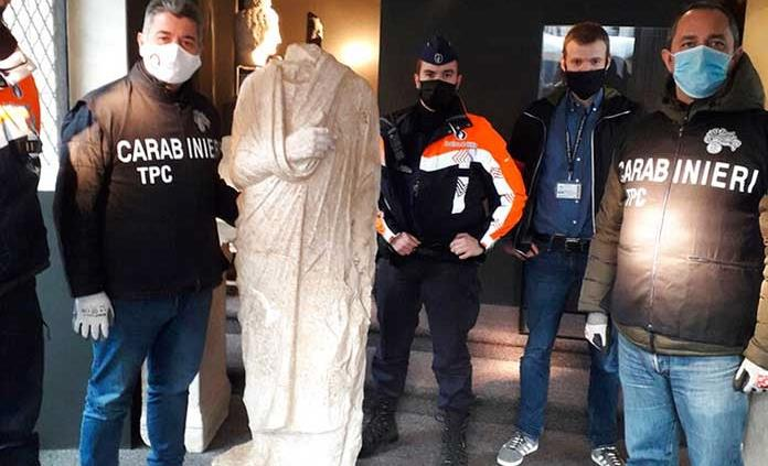 Italia recupera en Bélgica una estatua romana robada en 2011