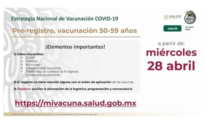 Ahora vacunarán adultos de entre 50 a 59 años