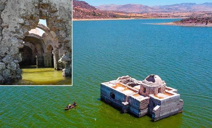 Sequía descubre antigua iglesia en Guanajuato