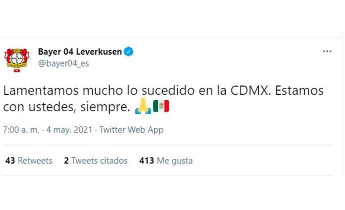 Leverkusen envía solidario mensaje por accidente del Metro