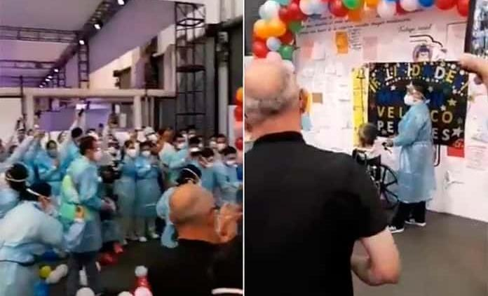 VIDEO: Con aplausos, Unidad Citibanamex da de alta al último paciente COVID