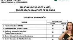 Iniciará el martes aplicación de la segunda dosis a personas de 50 años y más en la capital y Soledad