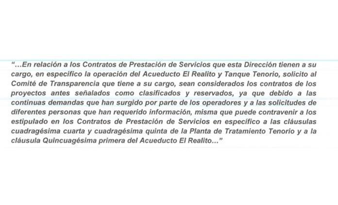 Ocultan contrato del acueducto El Realito