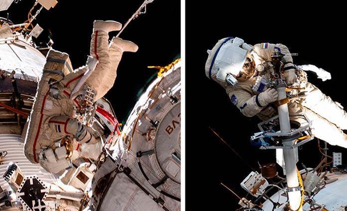 Los cosmonautas de la EEI salen al espacio para poner a punto el módulo Naúka