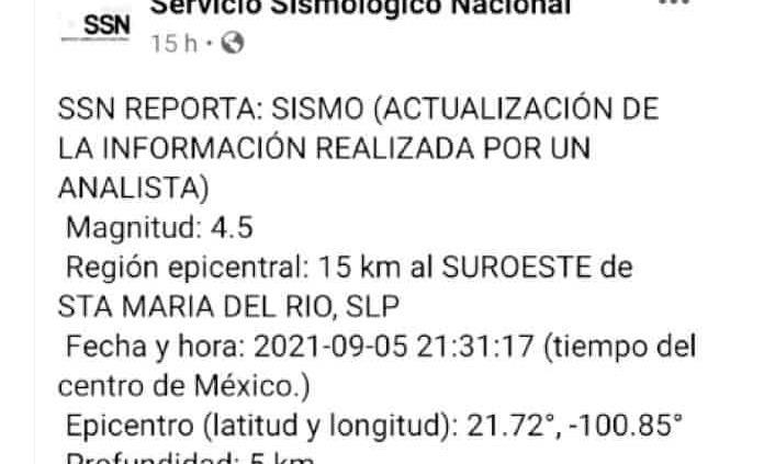 SLP ya es zona sísmica, pero no con la frecuencia del sureste del país: SSN