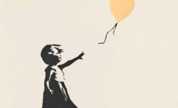 Sale a subasta una versión singular de Niña con globo firmada por Banksy