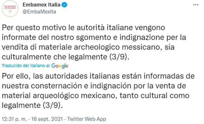México muestra a Italia su indignación por venta en Roma de su arqueología