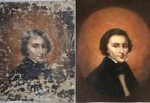 Retrato restaurado de Chopin reposa en bóveda, por ahora